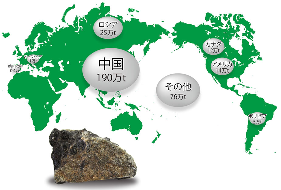 Image: Place and Volume of Tungsten Resources, A Main Material of Cemented Carbide Tools